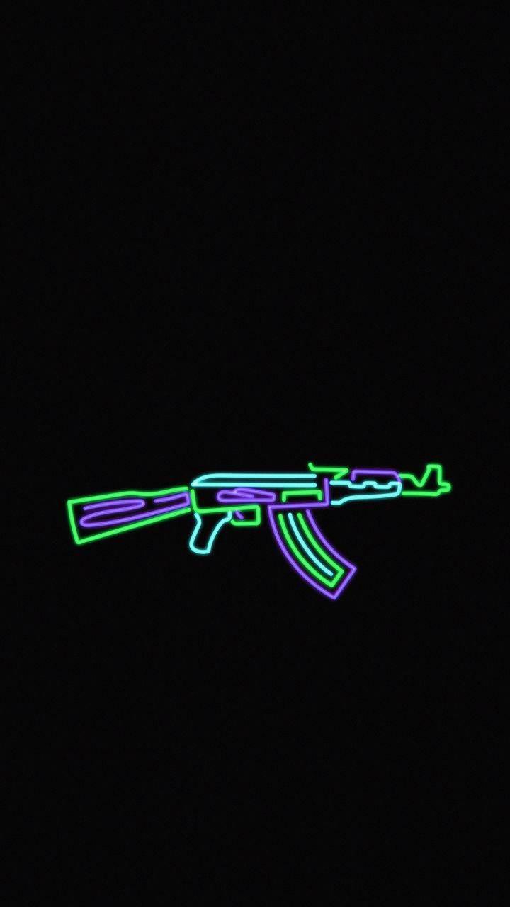 AK 47 Neon iPhone Wallpaper