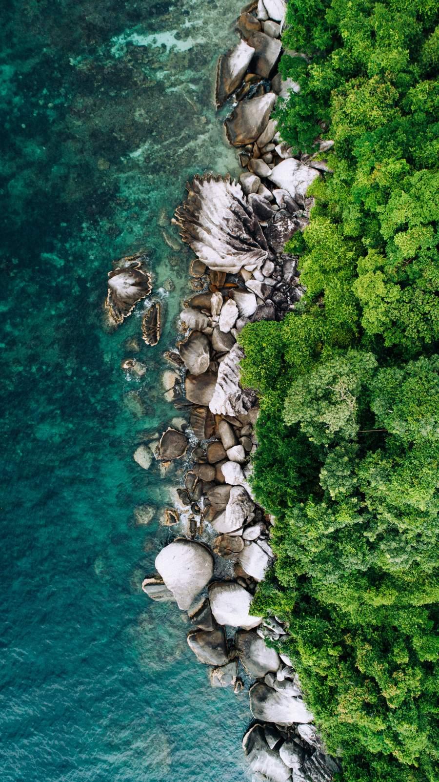 Aerial View Water Stones Nature iPhone Wallpaper