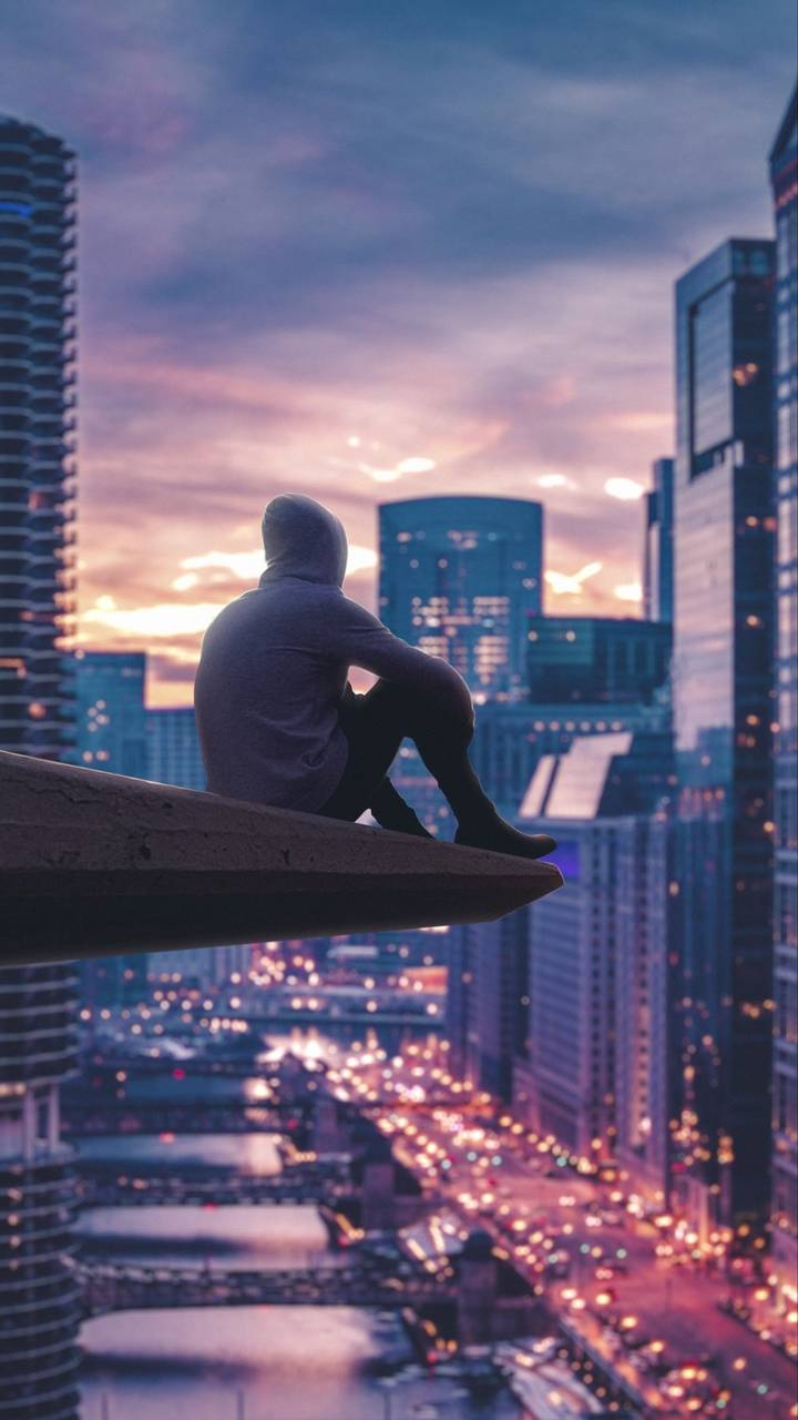 Alone Guy City Watching iPhone Wallpaper