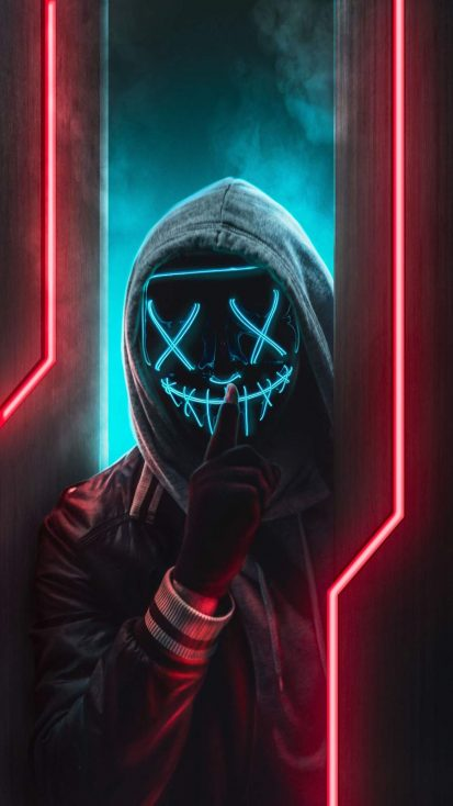 Anonymous Mask Hoodie Guy iPhone Wallpaper