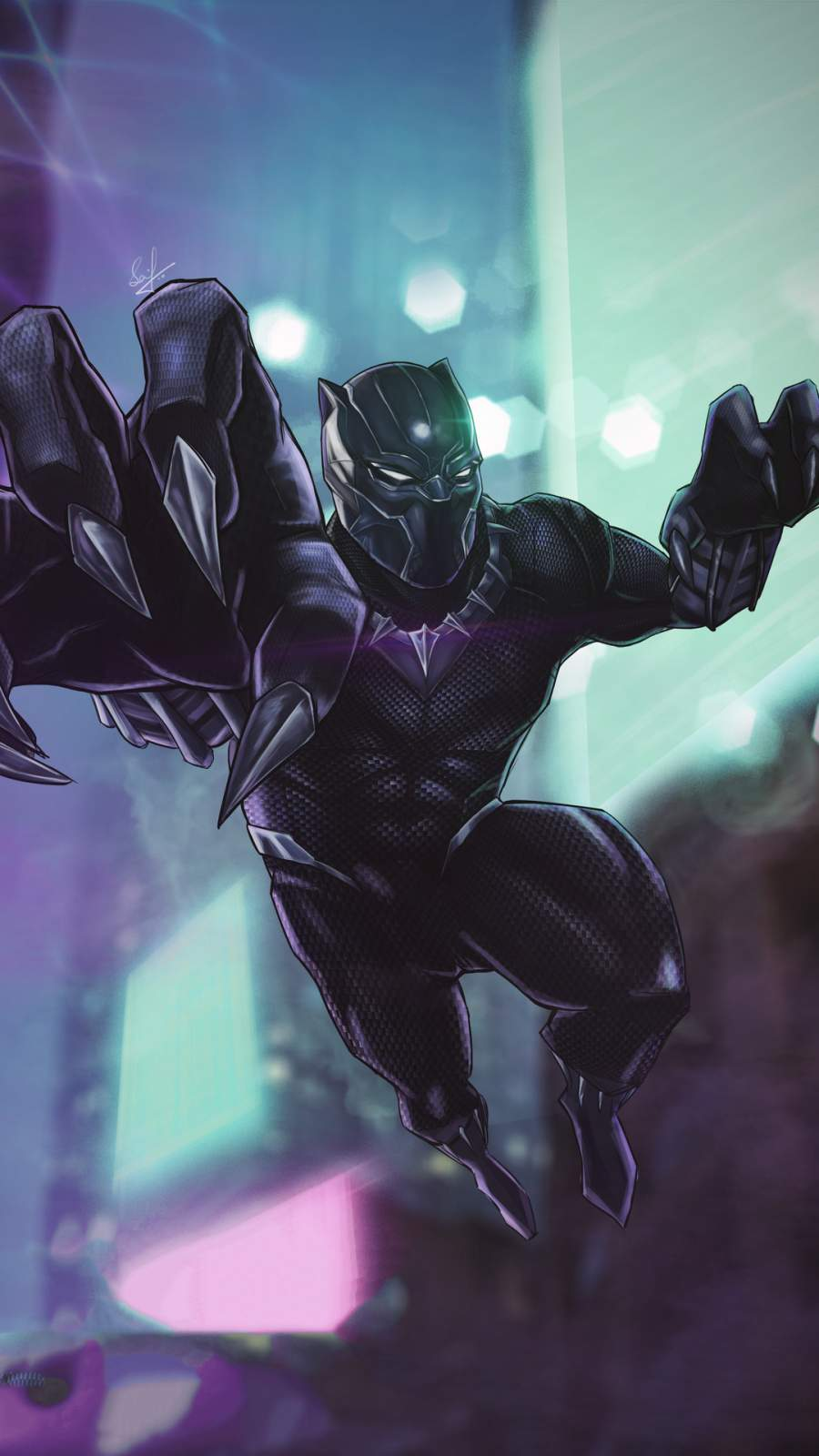 Black Panther 4K Art iPhone Wallpaper