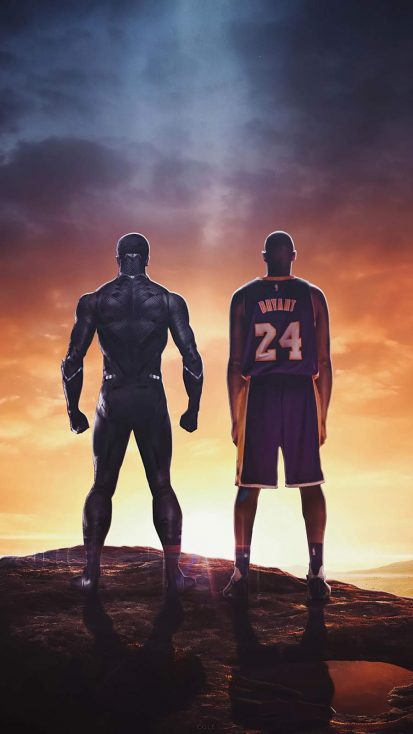 Black Panther and Kobe Bryant iPhone Wallpaper