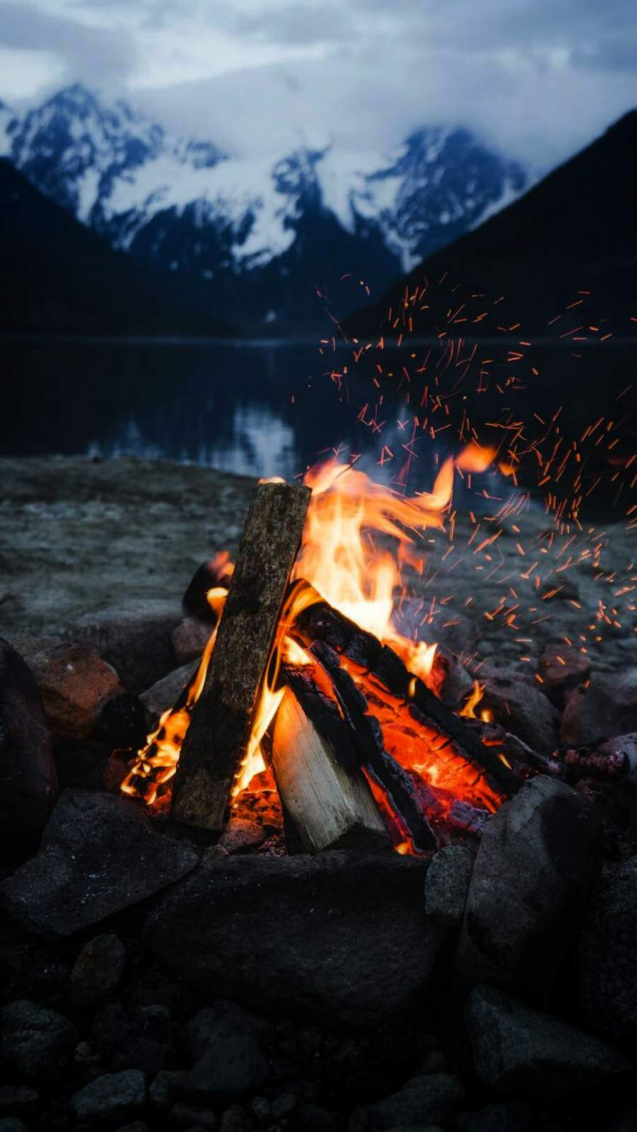 Camping Fire iPhone Wallpaper