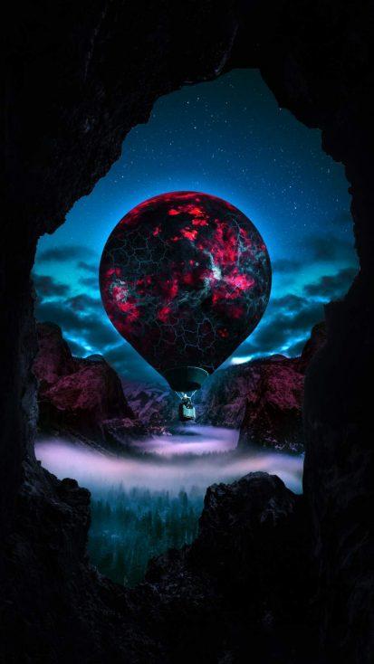 Hot Air Baloon Art iPhone Wallpaper