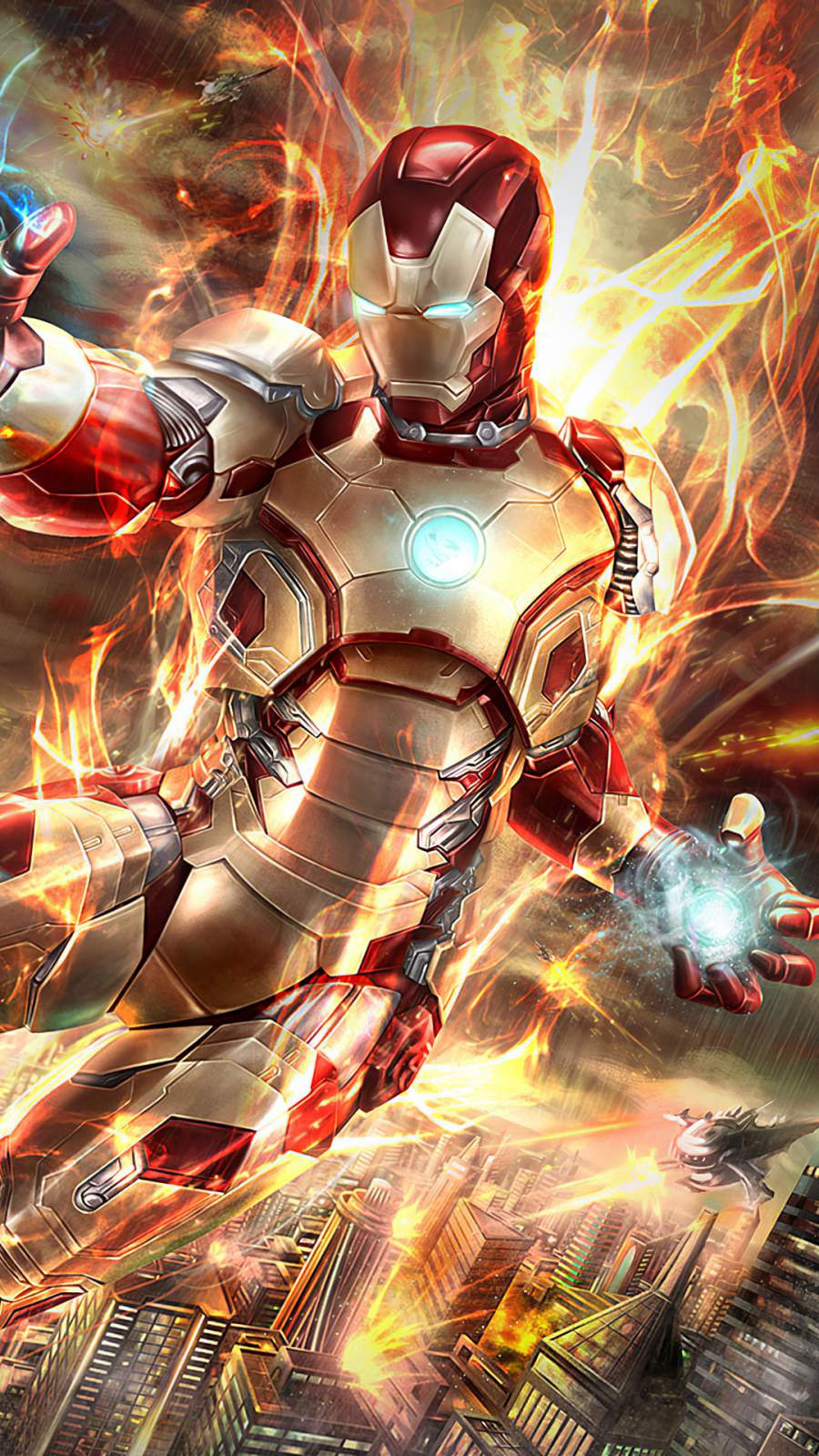 Iron Man Fire Blaster iPhone Wallpaper