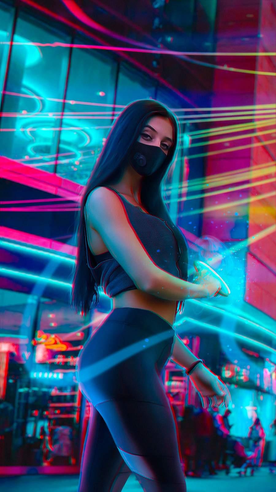 Mask Girl Amazing Body iPhone Wallpaper