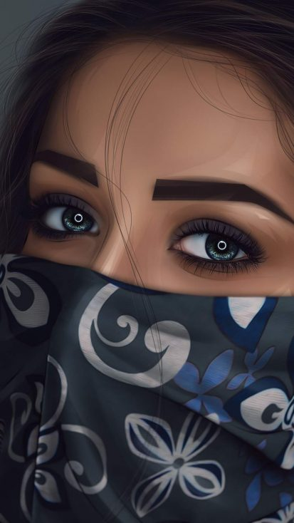 Mask Girl Beautiful Eyes iPhone Wallpaper