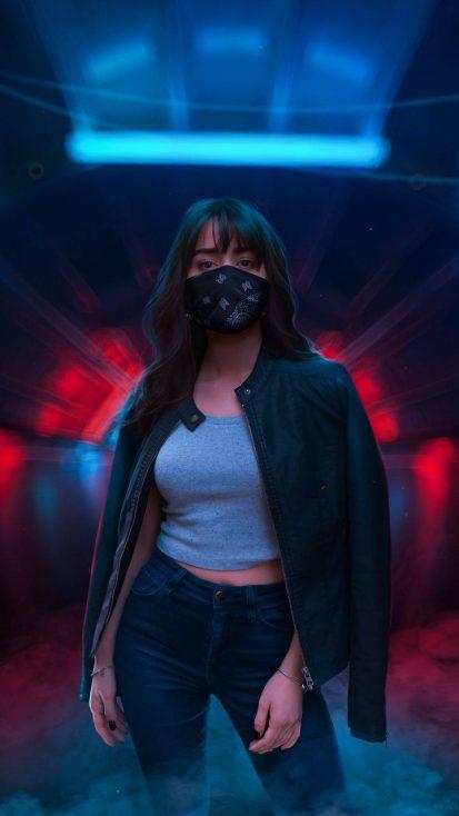 Masked Girl Neon World iPhone Wallpaper