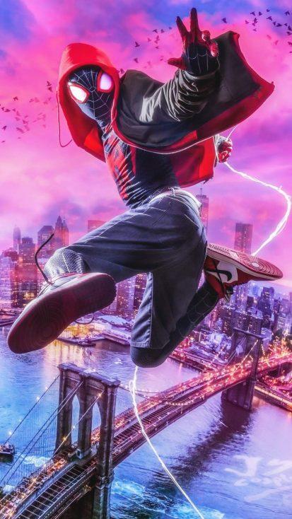 Miles Spiderman City Art iPhone Wallpaper