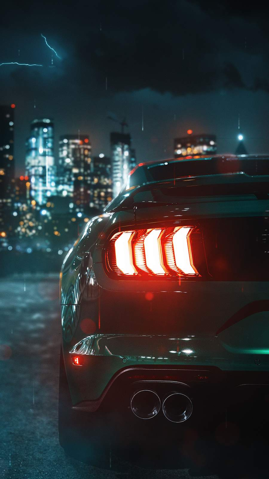 Mustang Tail Lights iPhone Wallpaper