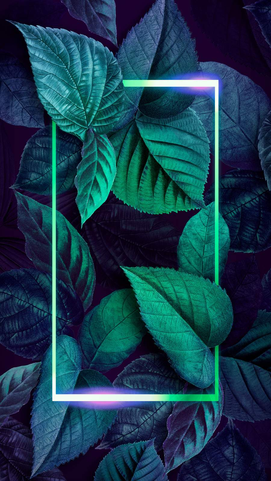 Neon Foliage Nature Art iPhone Wallpaper