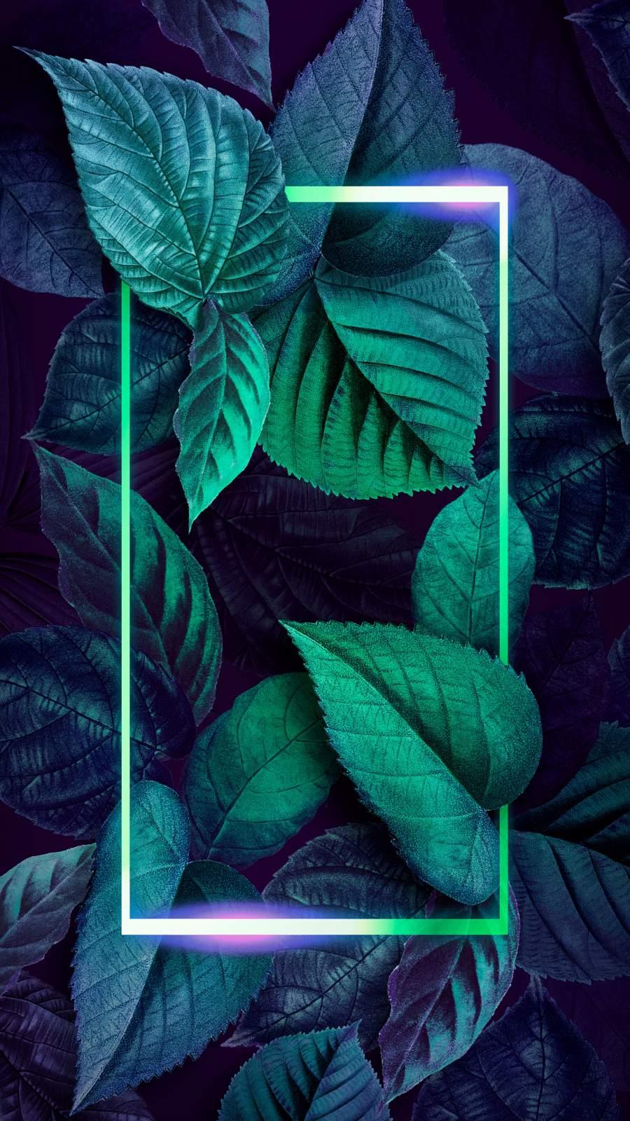 Neon Foliage Nature Art iPhone Wallpaper