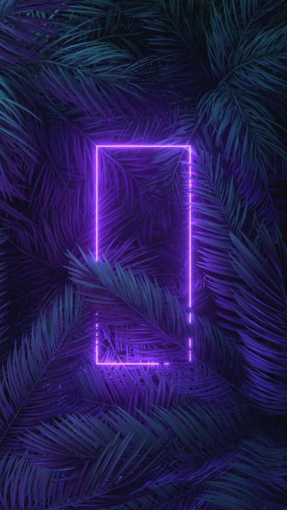 Neon Light Trees iPhone Wallpaper