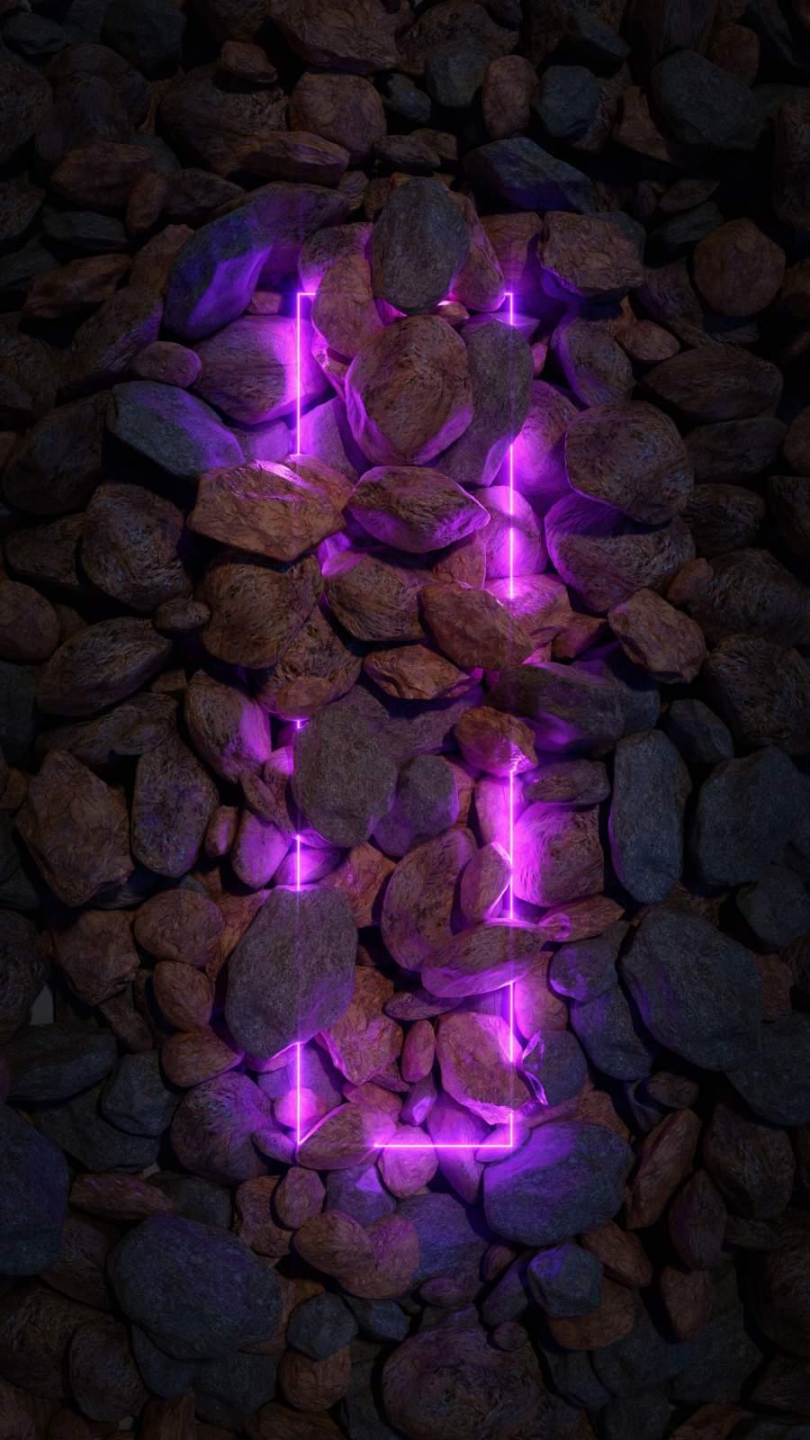 Neon Light in Stones iPhone Wallpaper