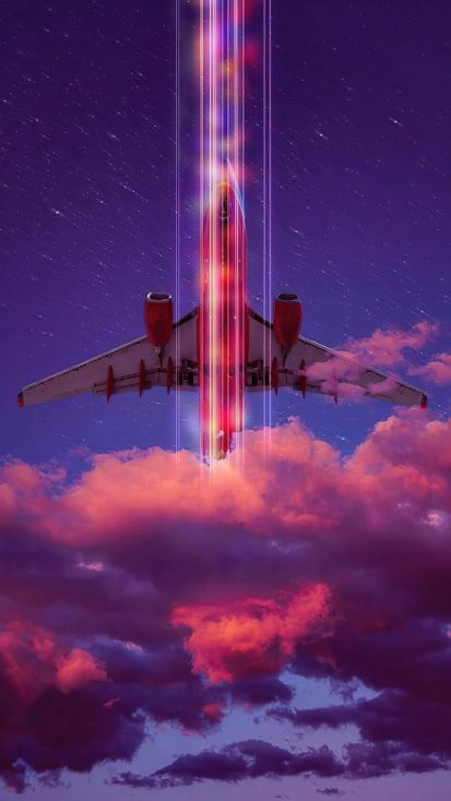Neon Retro Airlines iPhone Wallpaper
