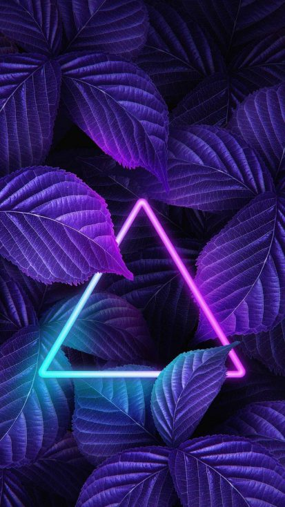 Neon Triangle Foliage Nature iPhone Wallpaper