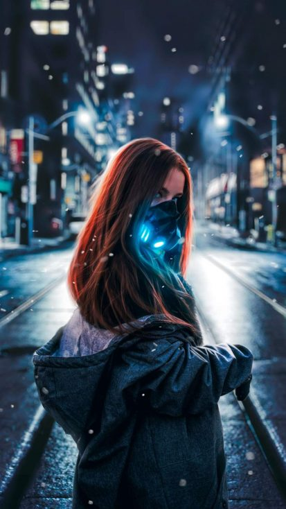 Night Mask Girl iPhone Wallpaper