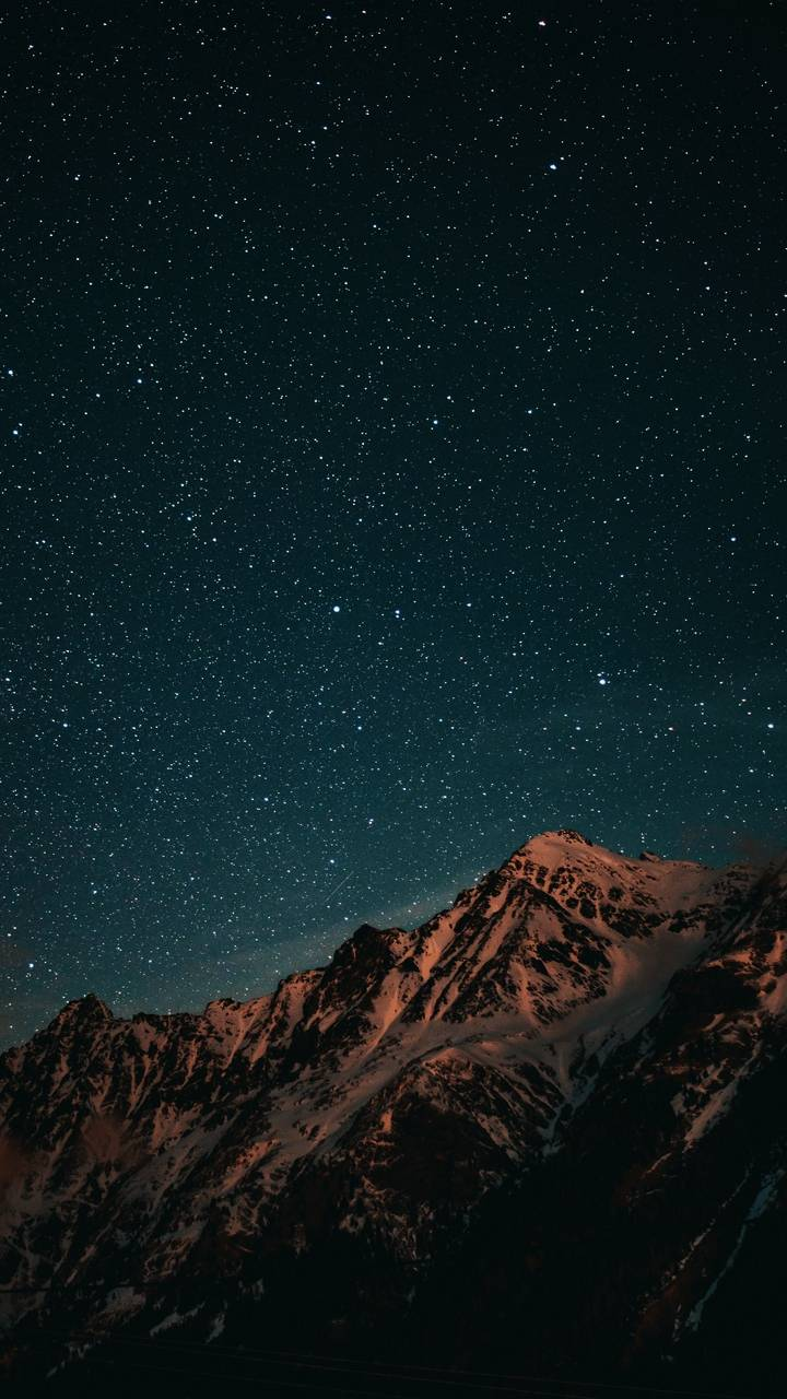 Night Sky and Snow Mountains