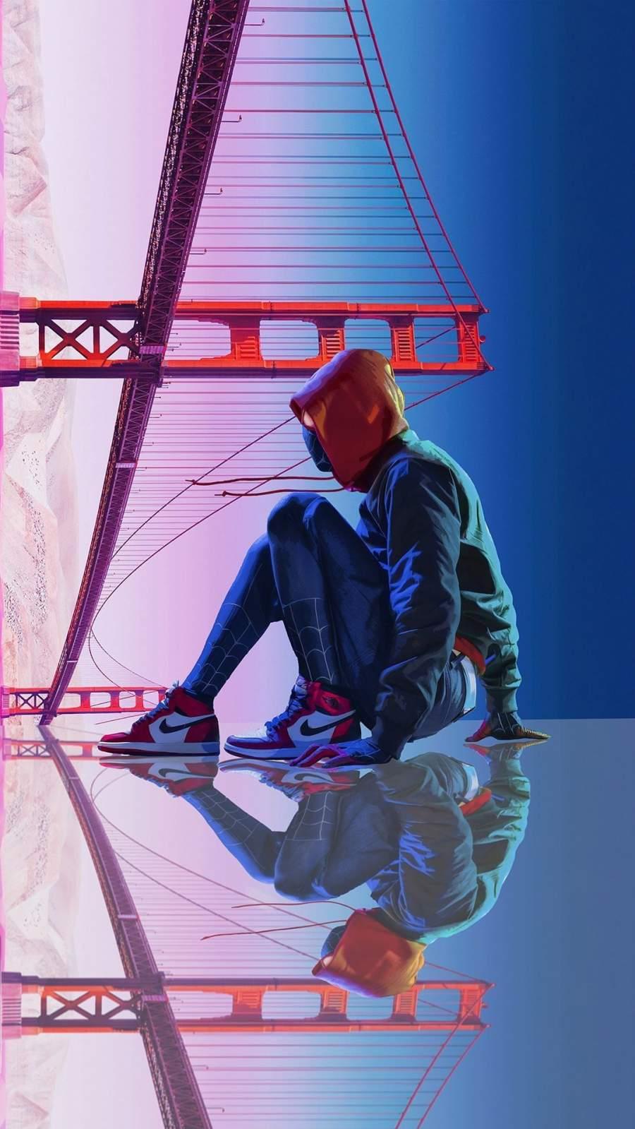 Spiderman Golden Gate Bridge iPhone Wallpaper