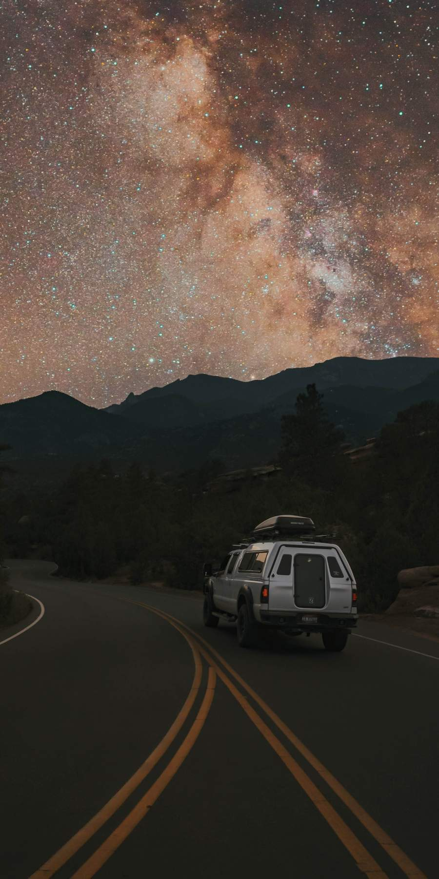 Starry Night Roads Camping Car iPhone Wallpaper