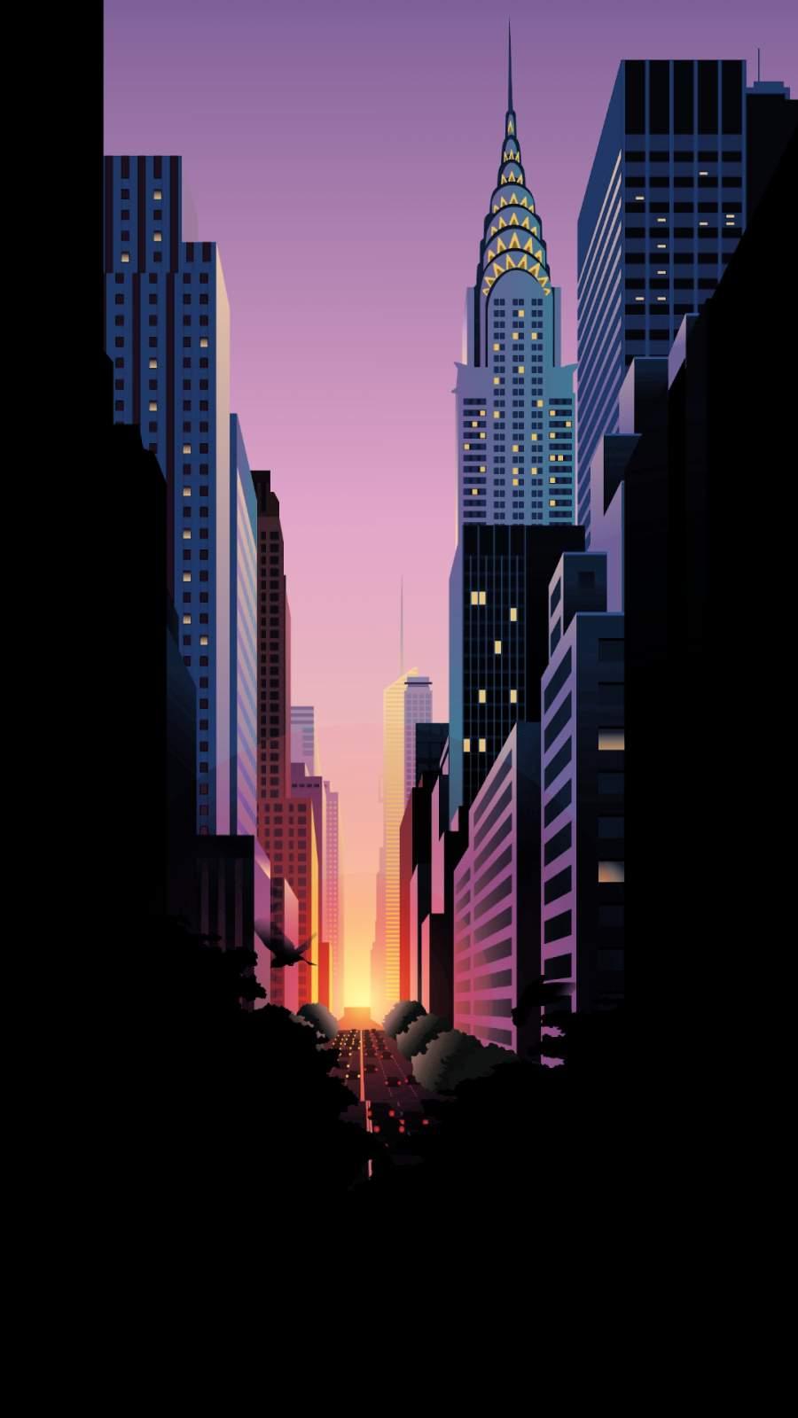 Sunset New York iPhone Wallpaper