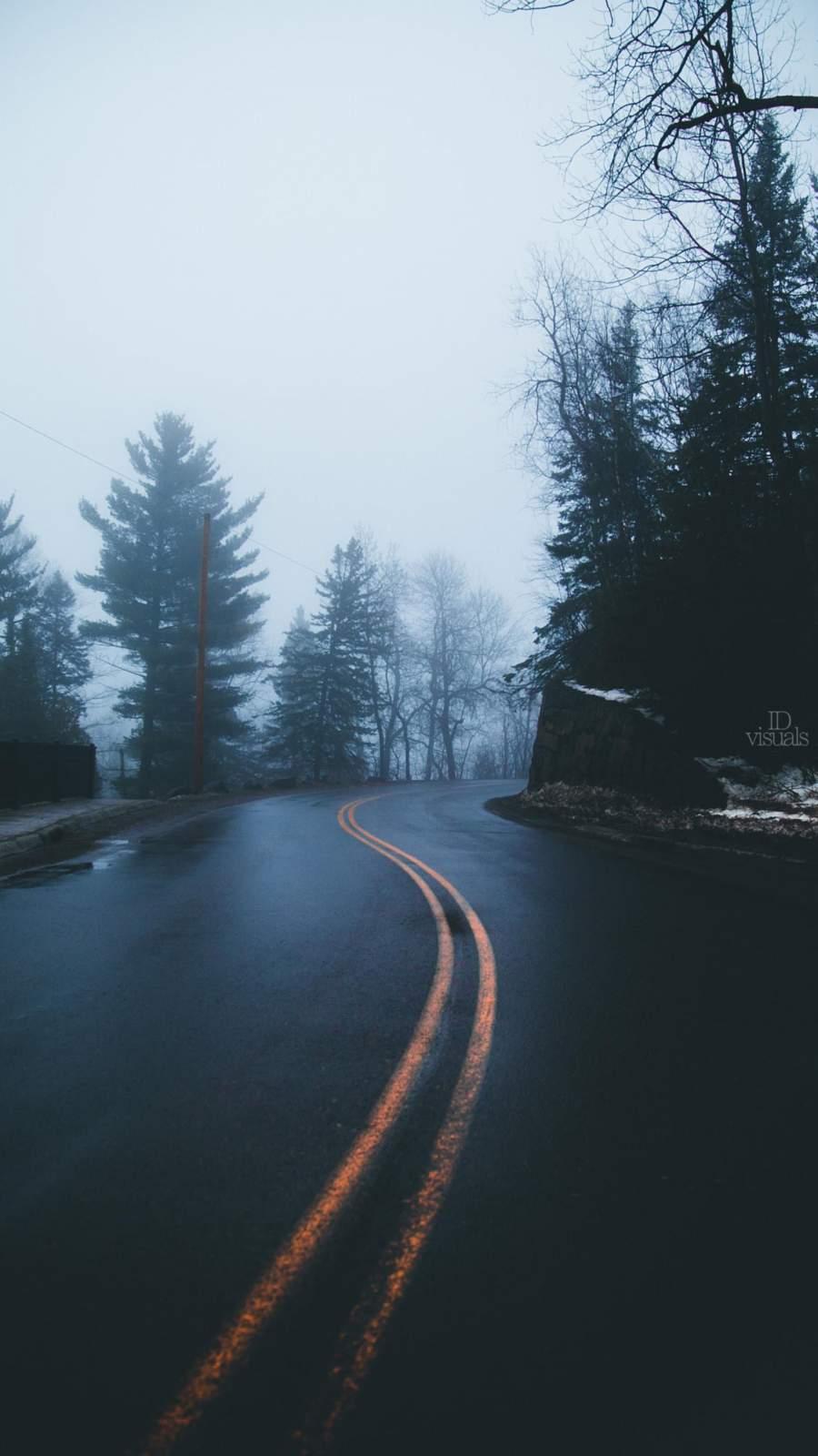 Winter Foggy Road iPhone Wallpaper