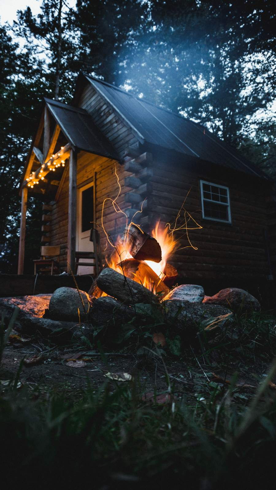 Wood Cabin Camping Fire iPhone Wallpaper
