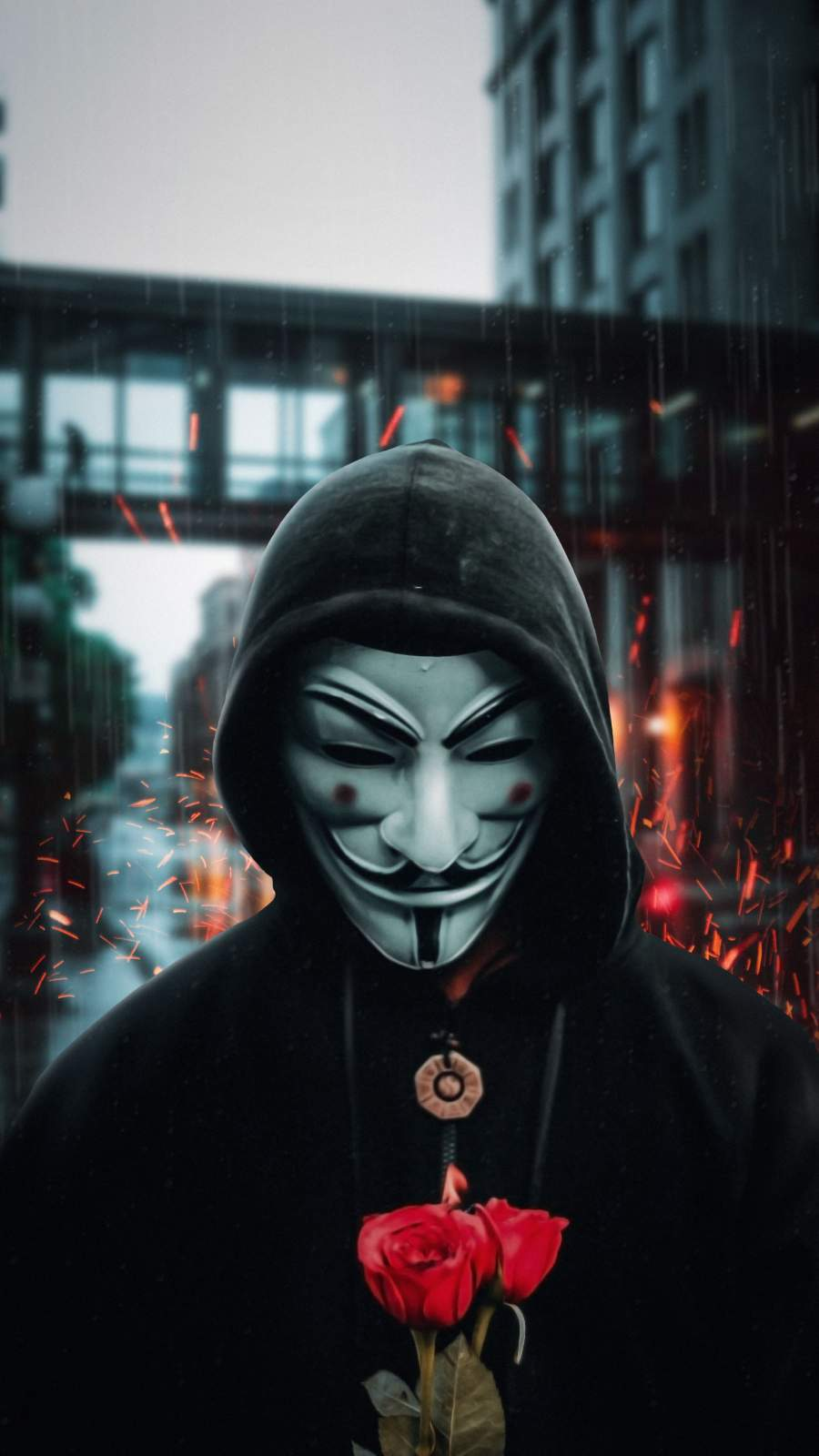 Anonymous Guy with Rose iPhone Wallpaper