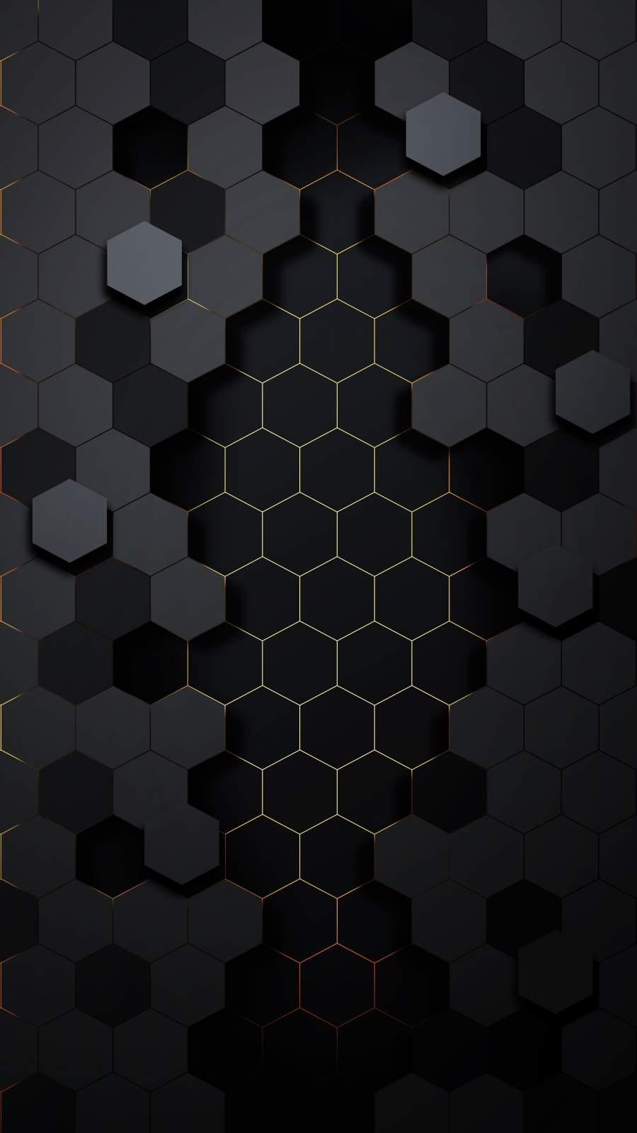 Black Hexagon iPhone Wallpaper