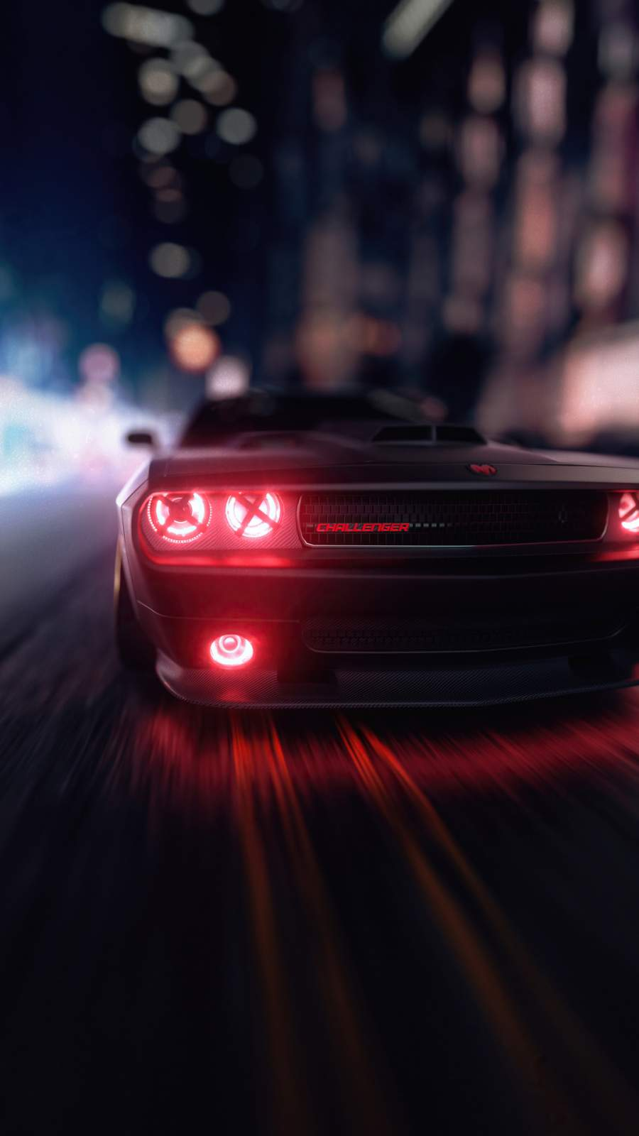 Dodge Challenger Angel Headlights iPhone Wallpaper