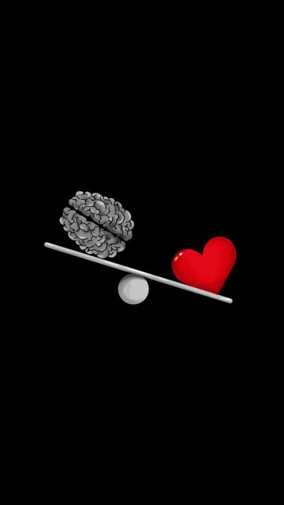 Heart vs Brain iPhone Wallpaper