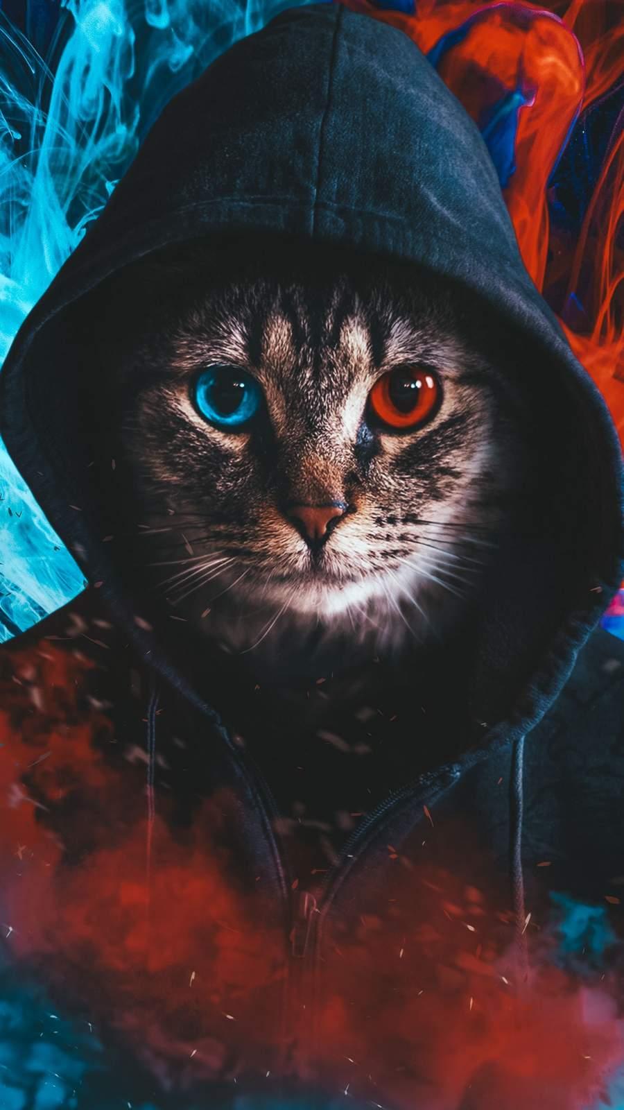 Hoodie Cat iPhone Wallpaper