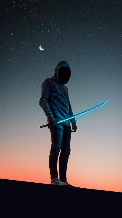 Hoodie Guy with Neon Sword iPhone Wallpaper