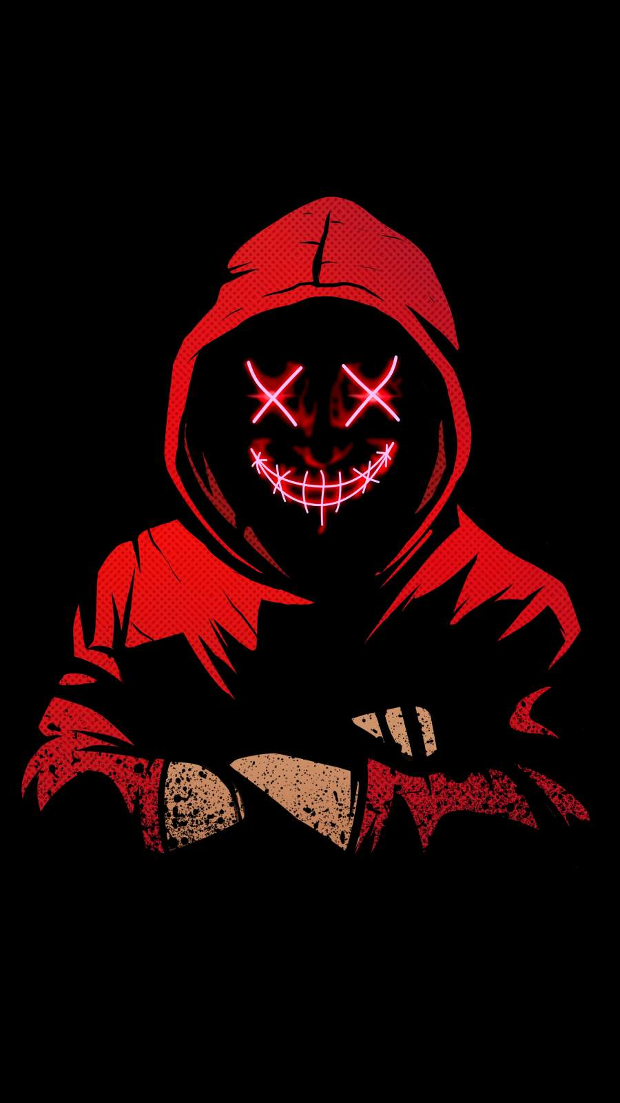 Hoodie Scary Neon Mask