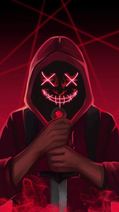 Neon Mask Hoodie Devil