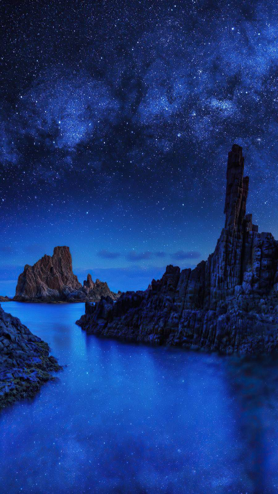 Ocean Rocks on Starry Night