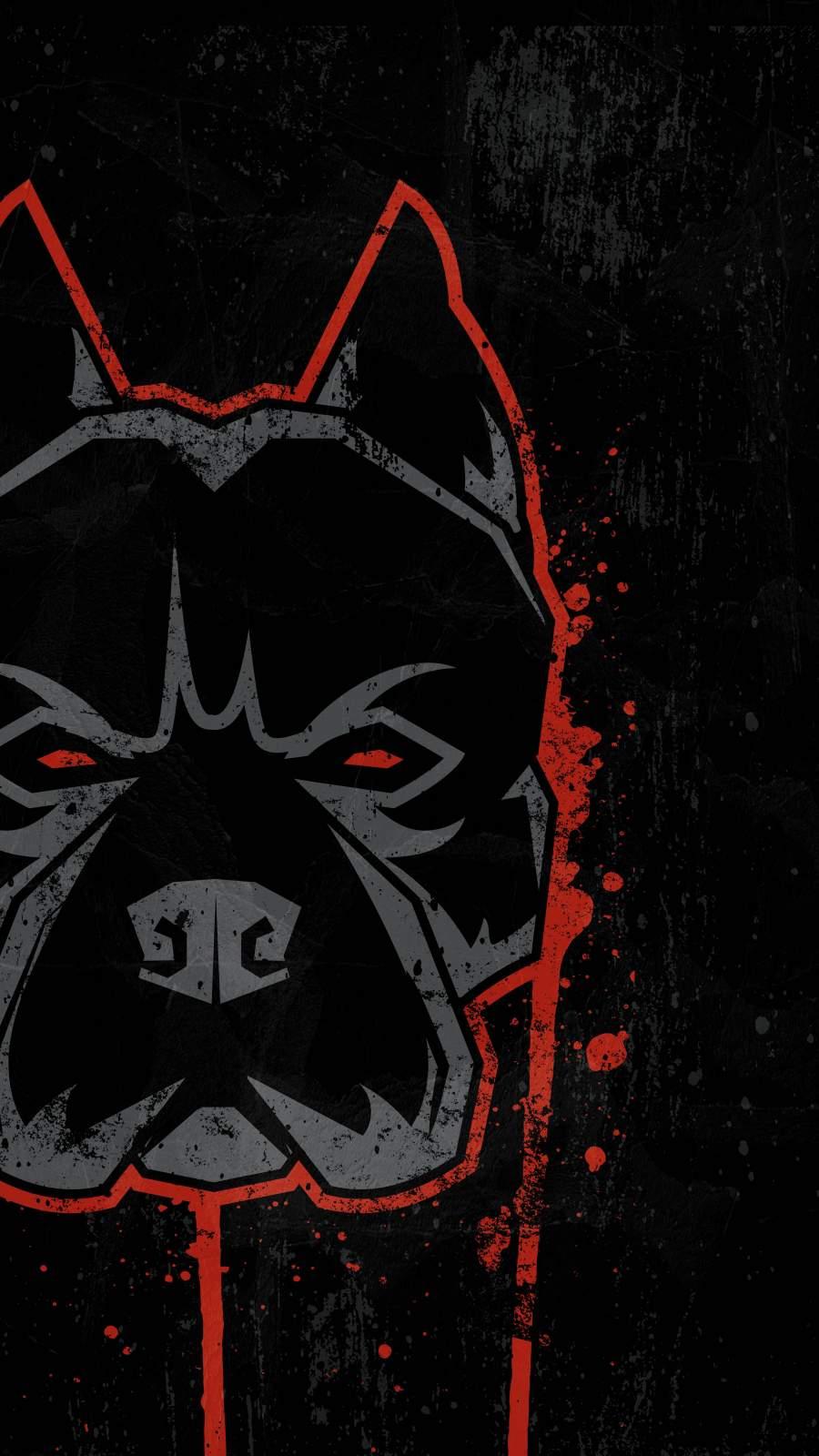 Pitbull Dog Art iPhone Wallpaper