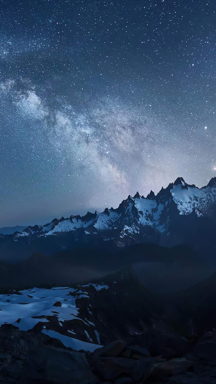 Snow Mountains Night Starry Sky iPhone Wallpaper