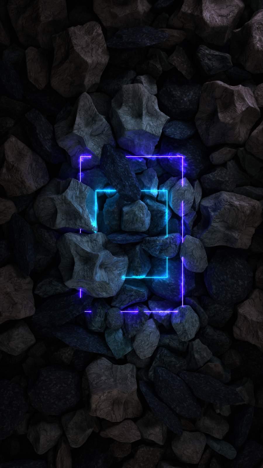 Stone Rocks Neon Light iPhone Wallpaper