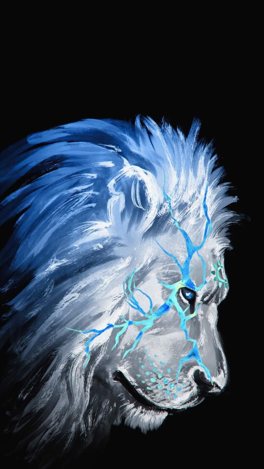 White Lion Art iPhone Wallpaper
