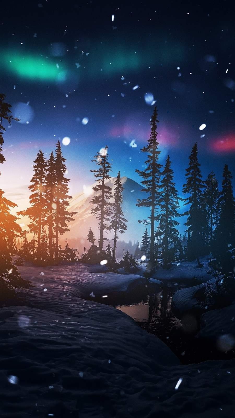 Winter Night iPhone Wallpaper
