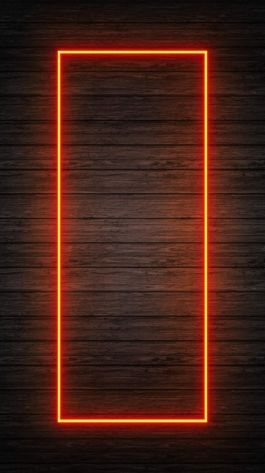 Wood Neon Light Background iPhone Wallpaper