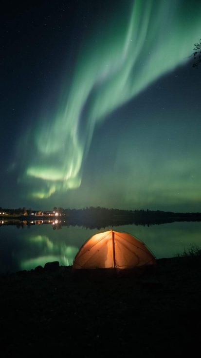 Aurora Lights Camping iPhone Wallpaper