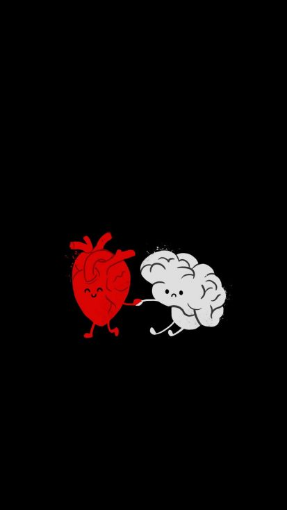 Brain with Heart iPhone Wallpaper