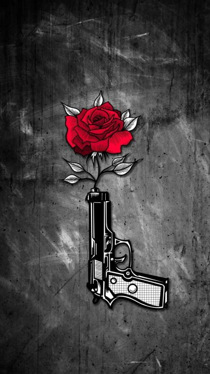 Gun Rose iPhone Wallpaper