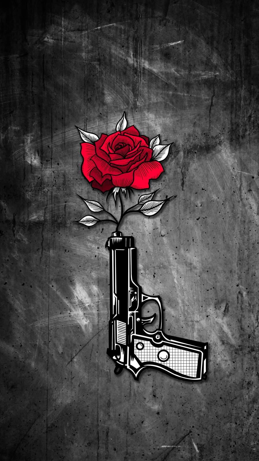 Gun Rose iPhone Wallpaper