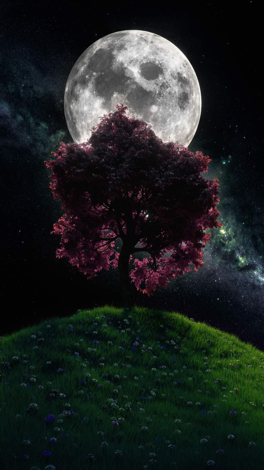 Moon Tree iPhone Wallpaper