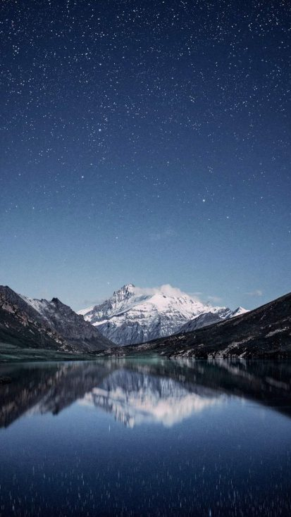 Mountain Lake Night View Sky