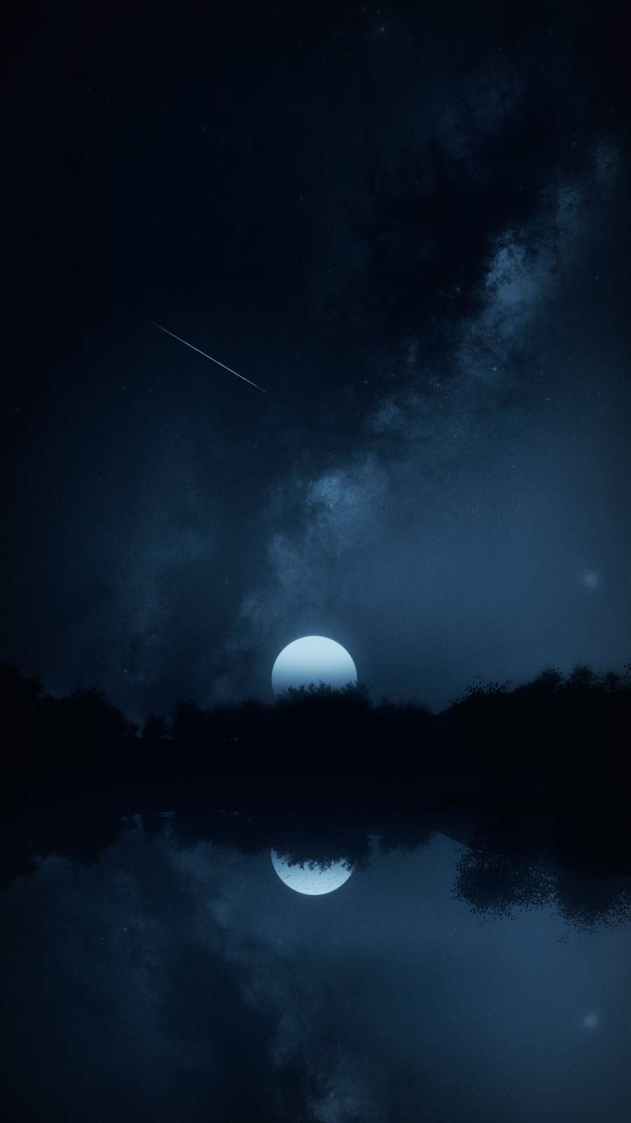 Night Moon Space Reflection