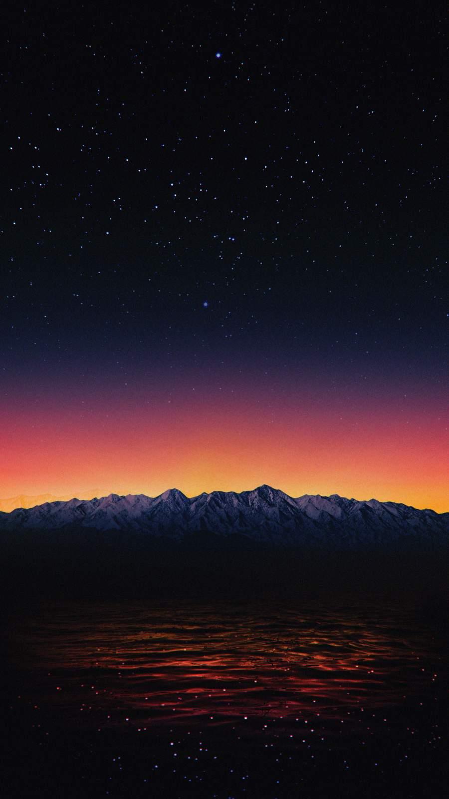 Night Mountains Starry Sky